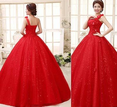 結婚式/披露宴 ウェディングドレス バックレス 花飾り シングル肩 妊婦もOK 花嫁礼服 XCDJ05
