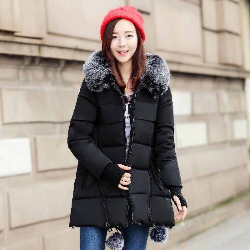 冬のジャケット女性のファッション毛皮の襟パーカーパッド付きスリムフード付きコート女性Downcottonジャケット