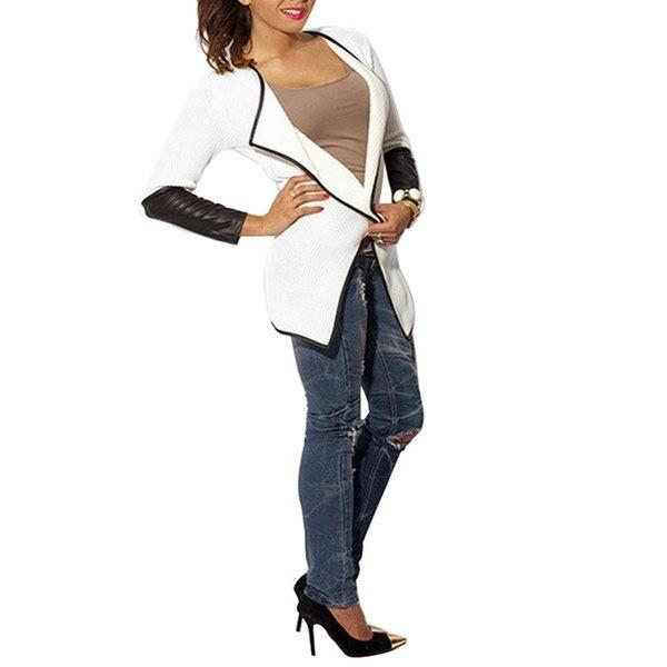 IS Fashion Women Casual Slim Long Sleeve Leather Blouse Outwear Coat Cardigan IP