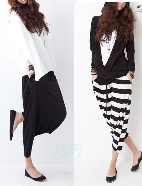 New  Women Western Style Loose HIPHOP Tide  Pants  Big Crotch Loose Culottes