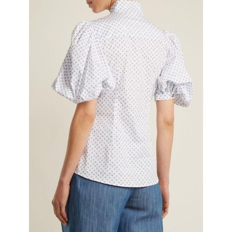 キャロライン コンスタス レディース トップス ブラウス・シャツ【Daisy micro floral-print cotton-blend shirt】White