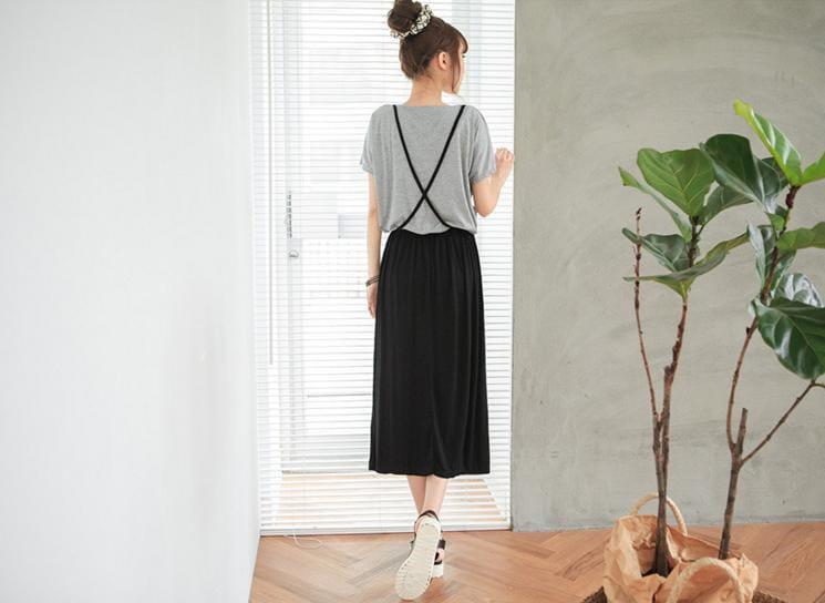 セットアップ風 Tシャツ ロングスカート ワンピース カジュアル シンプル らくちん ルームウエア ボーダー 無地