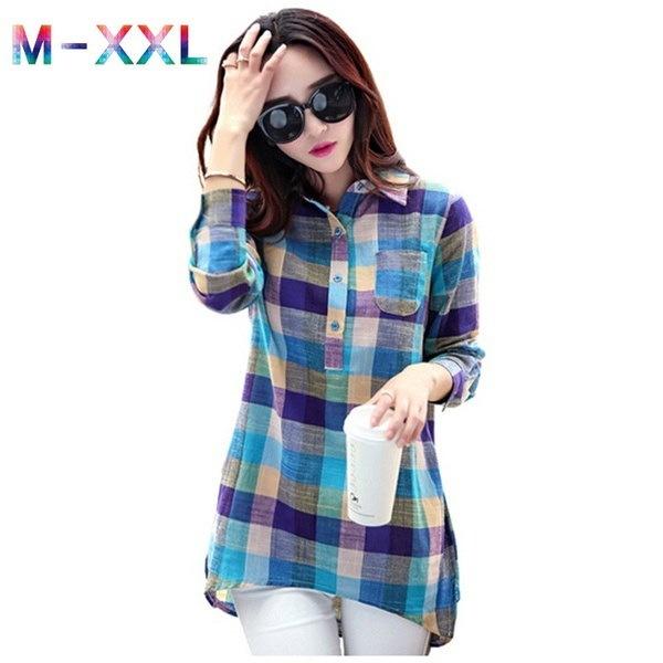 チェック柄のシャツ女性秋韓国スタイルファッションカラーブラウス