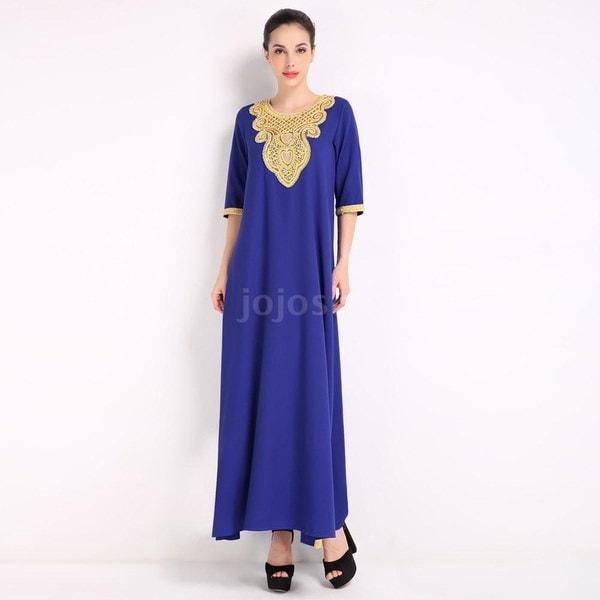 プラスサイズイスラムドレスファッション女性ムスリムドレスハーフスリーブスパンコール分割Abaya KaftanイスラムA