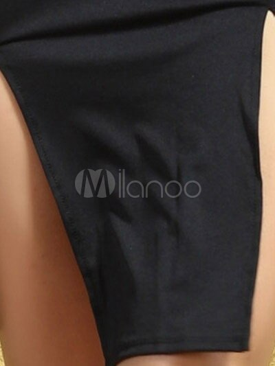 Black Split Front Bodycon Dress