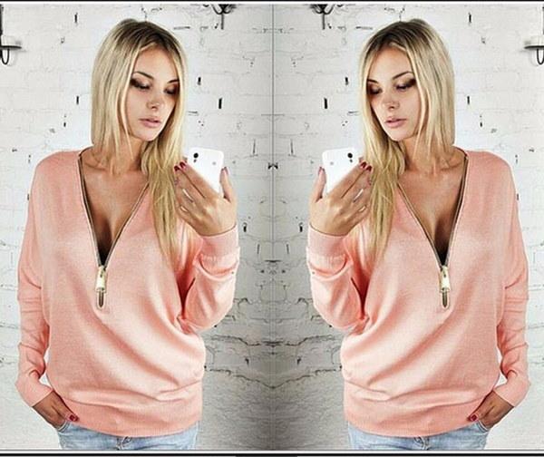 ファッション爆発モデルセクシーなディープVバットスリーブジップ女性長袖Tシャツ女性