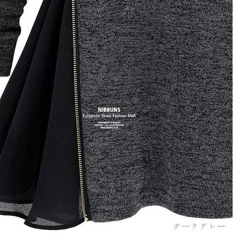 大きいサイズ有 裾フレアー Aライン ワンピ―ス 長袖 チュニック