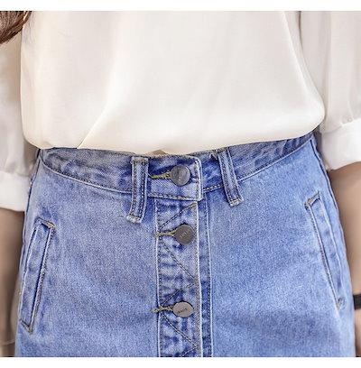 おしゃれの定番☆ デニムレーススカート ひざ丈 ボタン ボトムス レディース デート