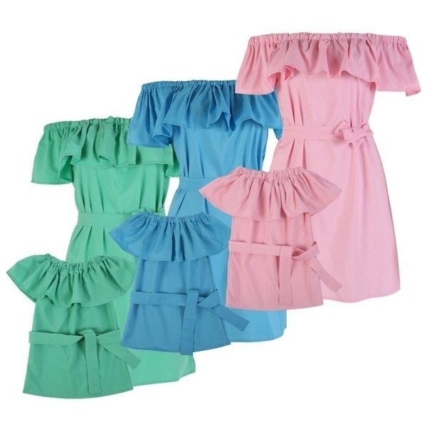 Mommy And Girl Family Matching Dresses Clothes Kids Parent Outfits