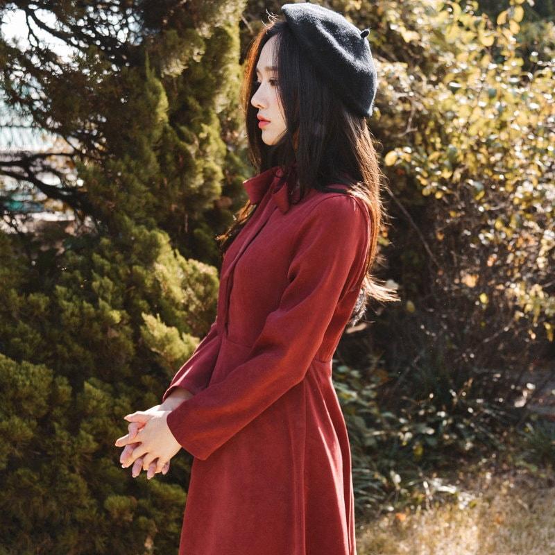 韓國ファッション [THE FLOWER SEASON] ラブスエードワンピース