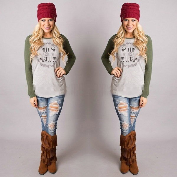 Women s Fashion Christmas Reindeer T-Shirt Crew Neck Cotton Long Sleeve Casual Tops Blouse