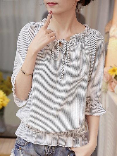 シンプル 長袖 人気満々 韓国風 カジュアル 2色 トップス シャツ