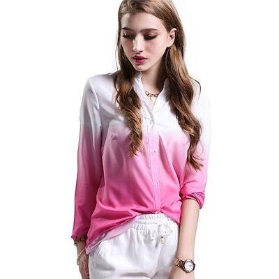 新しいホットプラスサイズ秋の春の女性のトップスファッションレディースシャツロングスリーブVネックグラデーションカジュアルブラウスStreetwear