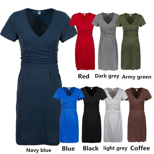 妊娠中のVネック半袖綿妊娠ドレスの夏の弾性ウエストのための出産服のドレス