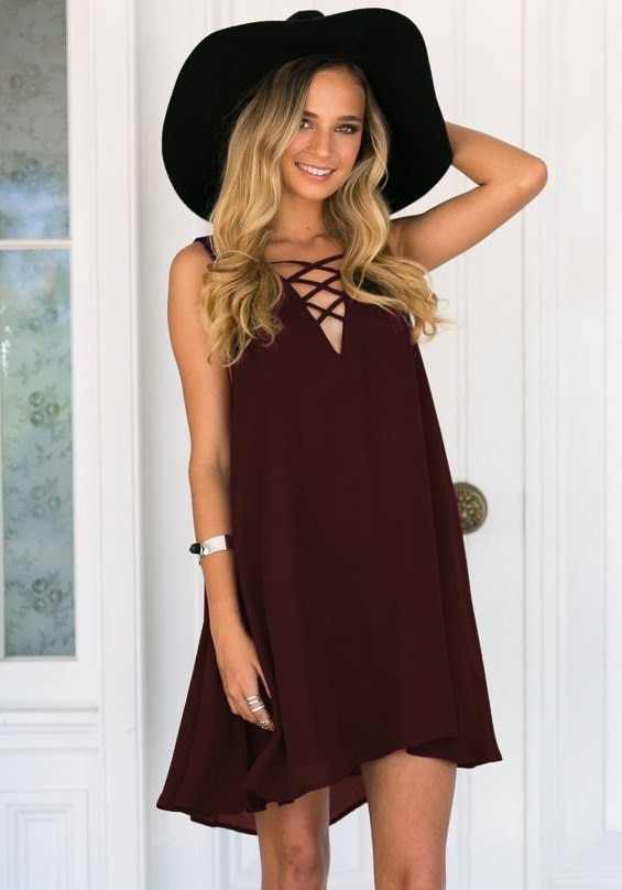 ファッションセクシーな女性のカジュアルノースリーブルースVネック包帯ドレスミニドレスプラスサイズ