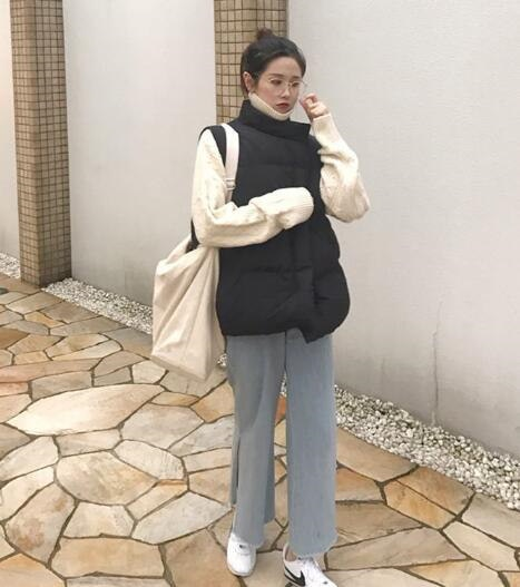 [55555SHOP]★ スライムドッグダウンベスト / おしゃれなシルエットのファッションコーデー提案!ハイクォリティー/韓国ファッション/オフィスルック/