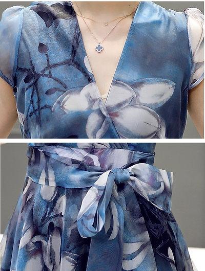 ドレス ワンピース ひざ丈 袖あり 20代 30代 ブルー 春夏 花柄 Vネック aライン フィッシュテール 透け感 フェミニン