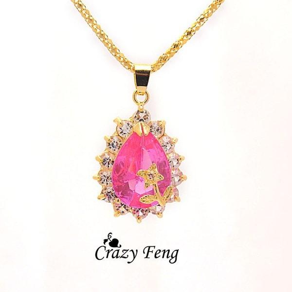 女性の金メッキラインストーン4色サファイアチェーンフラワーネックレスイヤリングジュエリーセット