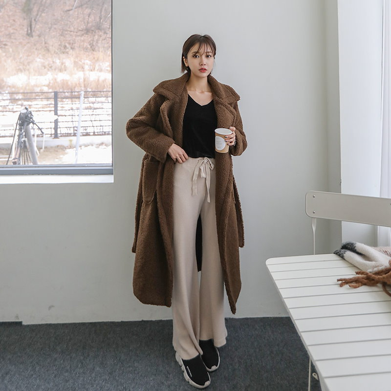 ♥送料 0円★PPGIRL_B250 Mocha bread coat / long coat / teddy bear coat / over fit coat / shearing coat /