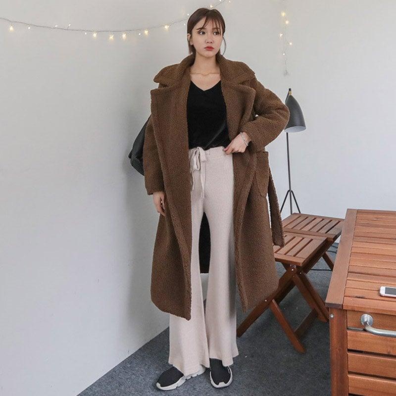 ♥送料 0円★PPGIRL_B250 Mocha bread coat / long coat / teddy bear coat / over fit coat / shearing coat /