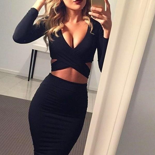 ブルーブラックホワイトロングスリーブ弾性コットン暖かいエレガントなパーティードレスセクシーな包帯ドレス
