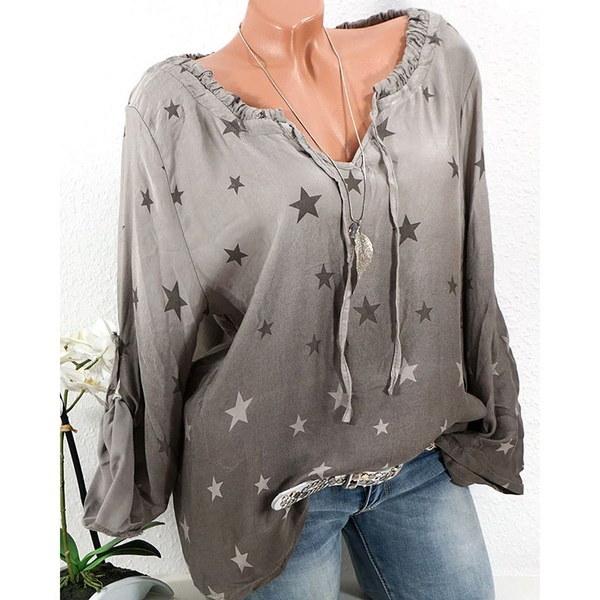 女性の新しいファッションVネックオンブスタープリントシャツロングスリーブカジュアルトップス