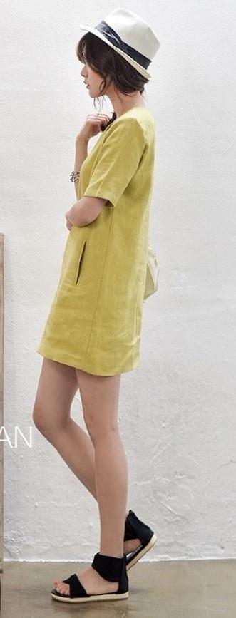 半袖 コットン ドレス ゆるカジ ワンピ ミニスカ リネン シンプル カジュアル ジンジャー Aライン ロングTシャツ ポケット 韓流 韓国 ファッション ヴィンテージ風 ジッパー 麻 ジッパー ショウガ チュニック 可愛い ナチュラル (62-12) ※納期に10日から14日ほどかかります。