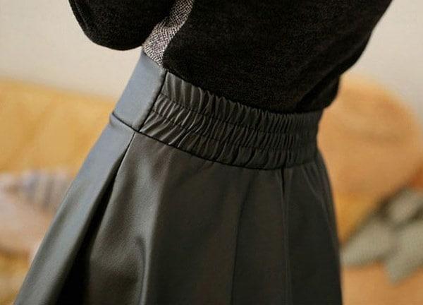 ウラモア女性フェイクレザーハイウエストショートミニスカート