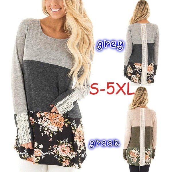 Boho Women Fashion Round  Neck Block Lace Floral Patchwork Long Sleeve Blouse Top
