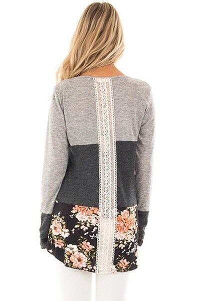 Boho Women Fashion Round  Neck Block Lace Floral Patchwork Long Sleeve Blouse Top