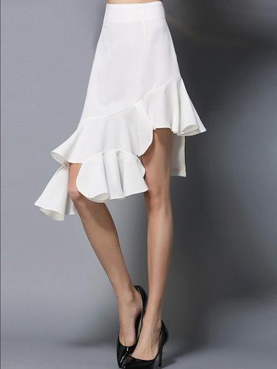 セレブ気質レトロイレギュラーフリル切り替えし裾スカート