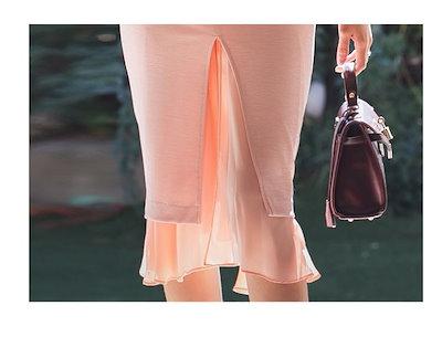 韓国ファッション オルチャン ワンピース ピンク 長袖 膝丈 シフォン Vネック スリット タイトシルエット レディース ワンピース 2018 秋冬 P1032