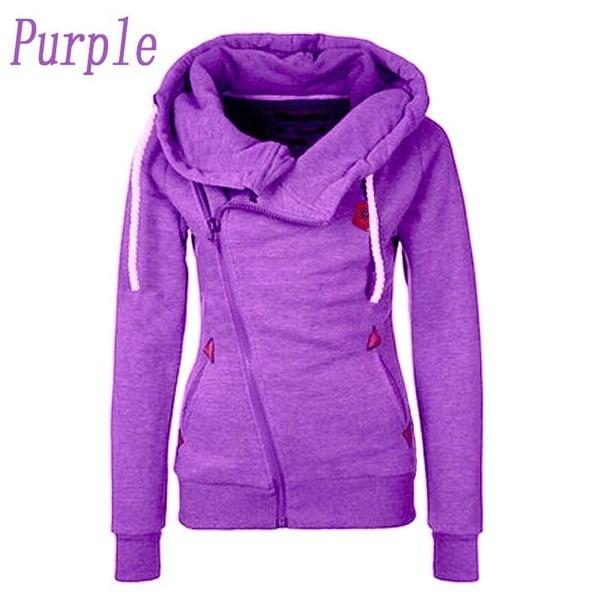 冬の女性ファッションスポーツパーソナリティサイドジッパーフード付きスエットシャツキャンディーカラーセーターコートS-4