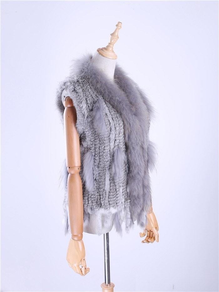 レディースレディース本物のリアルニットウサギの毛皮のベストタッセルアライグマ毛皮のトリミング襟の毛皮の毛皮