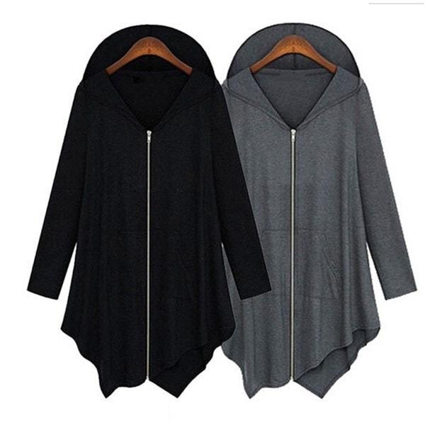 秋の春のファッション女性不規則なジッパーロングスリーブフード付きジャケットルーズな岬のアウターポンチーコアー