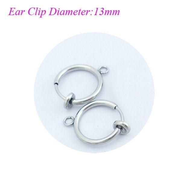 6PCSステンレススチールノーズリップリングフープイヤリングに小さなリング付きのスプリングクリップUnisex Goth Pierci