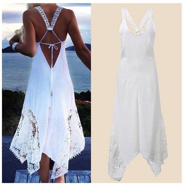 セクシーコットンレディースノースリーブAラインビーチアシンメトリー裾レースのかぎ針編みのビーチドレス