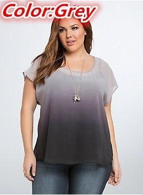プラスサイズ半袖OネックグラデーションカラーカジュアルTシャツWZC3007