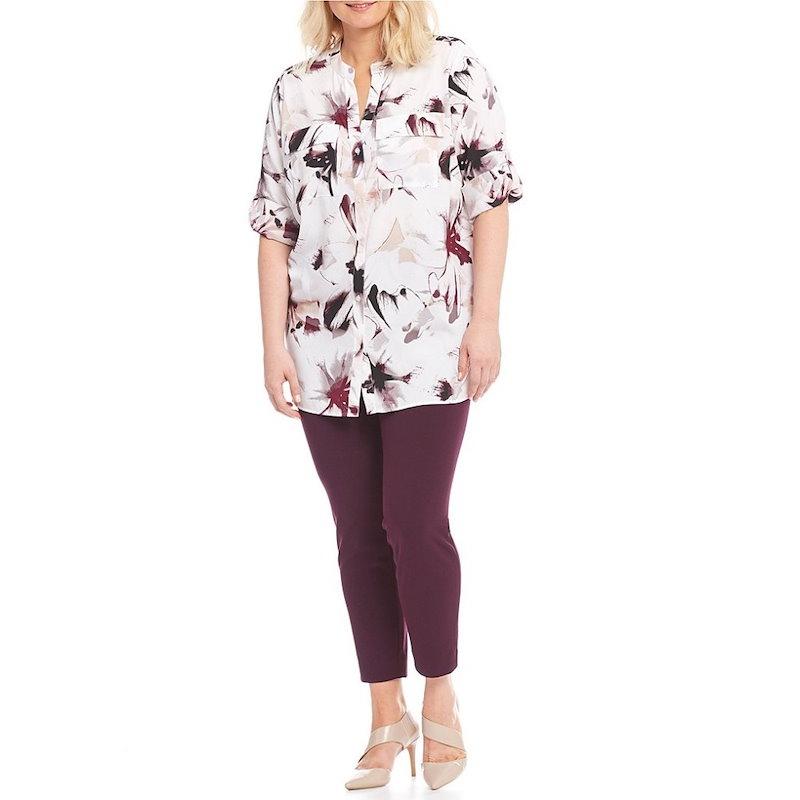 カルバンクライン レディース トップス ブラウス・シャツ【Calvin Klein Plus Floral Print Roll Sleeve Blouse】Blush Combo