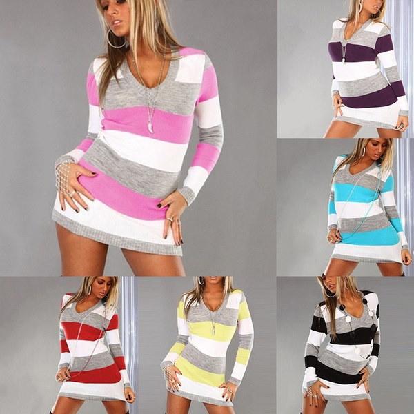 秋の女性のファッションロングスリーブ混色長いセーターミニドレスニットウェア