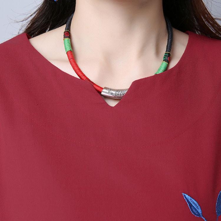 レディース ワンピース チュニック 体系カバー 刺繍 花柄 ゆったり 長袖 Vネック