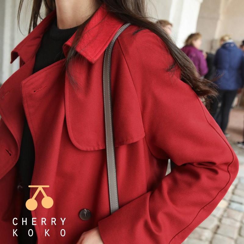 【CHERRYKOKO】【秋冬新作】【送料無料】✯韓国ファッション✯ レッドトレンチコート ♥ today red coat C707MACT3