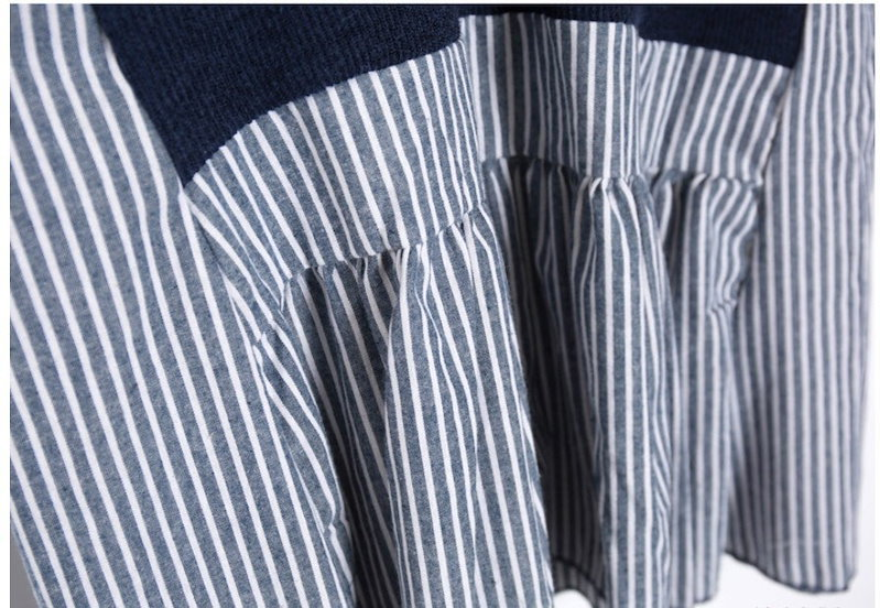『韓国製』SELLISHOP ストライプ レイヤード ワンピース「大きいサイズ 大人 韓国 ファッション・結婚式・フォマール 黒 フレア 30代 40代 50代 スレンダー・Aライン,シャツ・上品・ロ