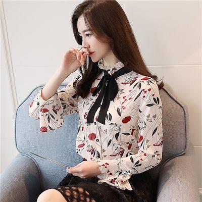 韓国 花柄 シフォンシャツ ブラウス ボウタイ襟 リボン襟 トランペットスリーブ フリル オルチャン