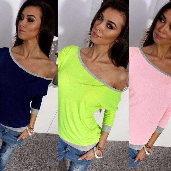 セクシーな女性ロングスリーブオフショルダーTシャツトップスマルチカラーWomensプラスサイズTシャツ