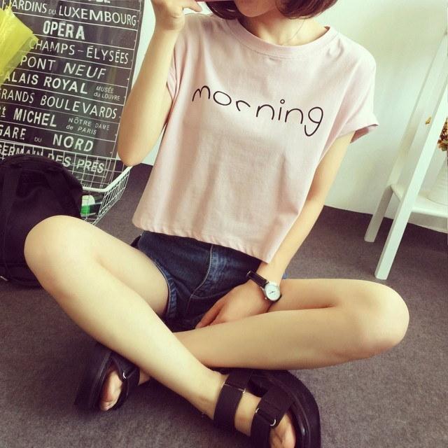 Hot  Morning Women Sexy Short Bellybutton Tank Top Short Sleeve T-Shirt Tops