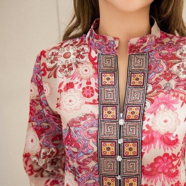 プラスサイズのシフォン女性のブラウスボヘミアンインディアントップス夏のブラウス5XLの刺繍ロングシャツのブラウス