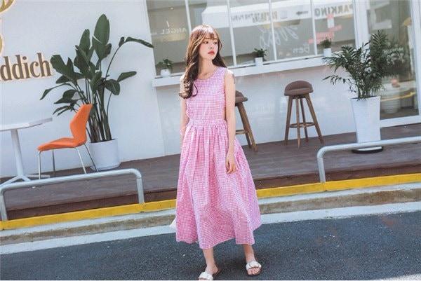 レディースワンピース 韓国無地 スリム 韓国のファッション ノースリーブチェックワンピース  プリントワンピース  開襟 学院風 ハイセンス 着心地いい おしゃれ 夏 スリム セール★ レディースワンピース
