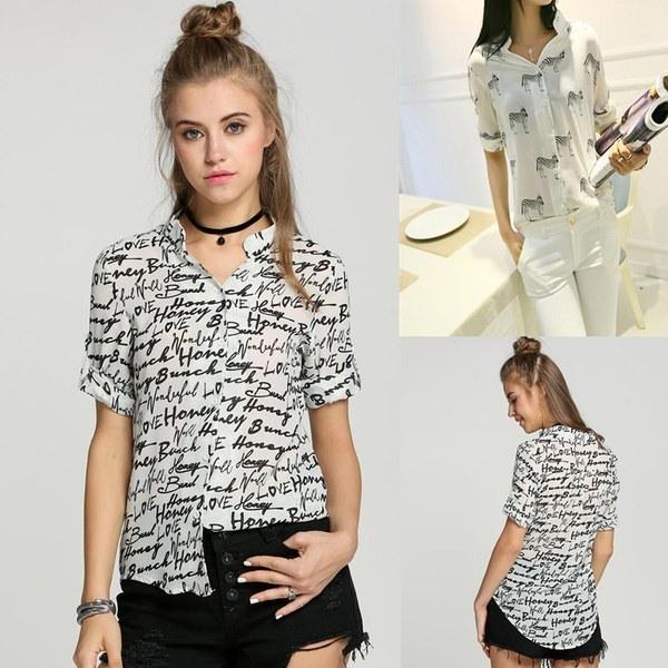 Vintage Women Casual Shirt Print Button Down Collar Chiffon Blouse Tops S-XL W3L 7_S