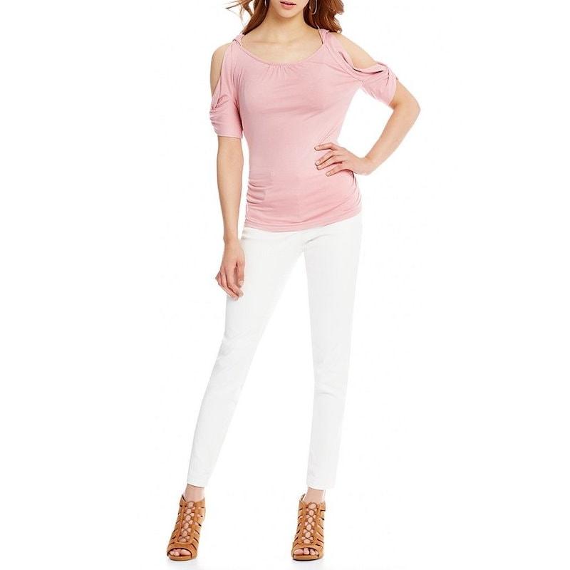 エムエスエスピー レディース トップス ブラウス・シャツ【M.S.S.P. Cold Shoulder Knit Jersey Top】Desert Pink